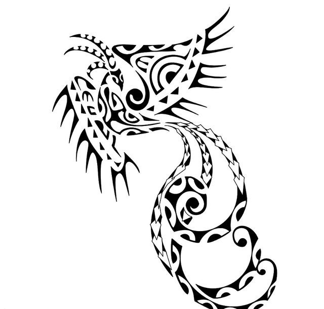 Maori Phoenix With Curly Tail Tattoo Design