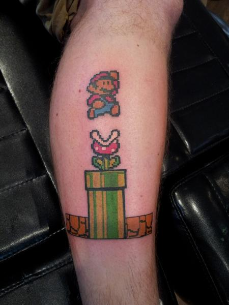 Mario Bros Tattoo On Leg For Boys