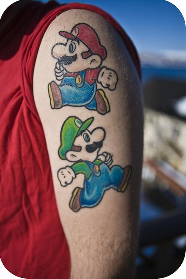 Mario Tattoos On Upper Arm For Men