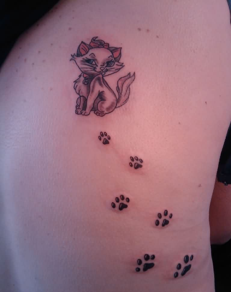 Marlene Cat And Paw Print Tattoos