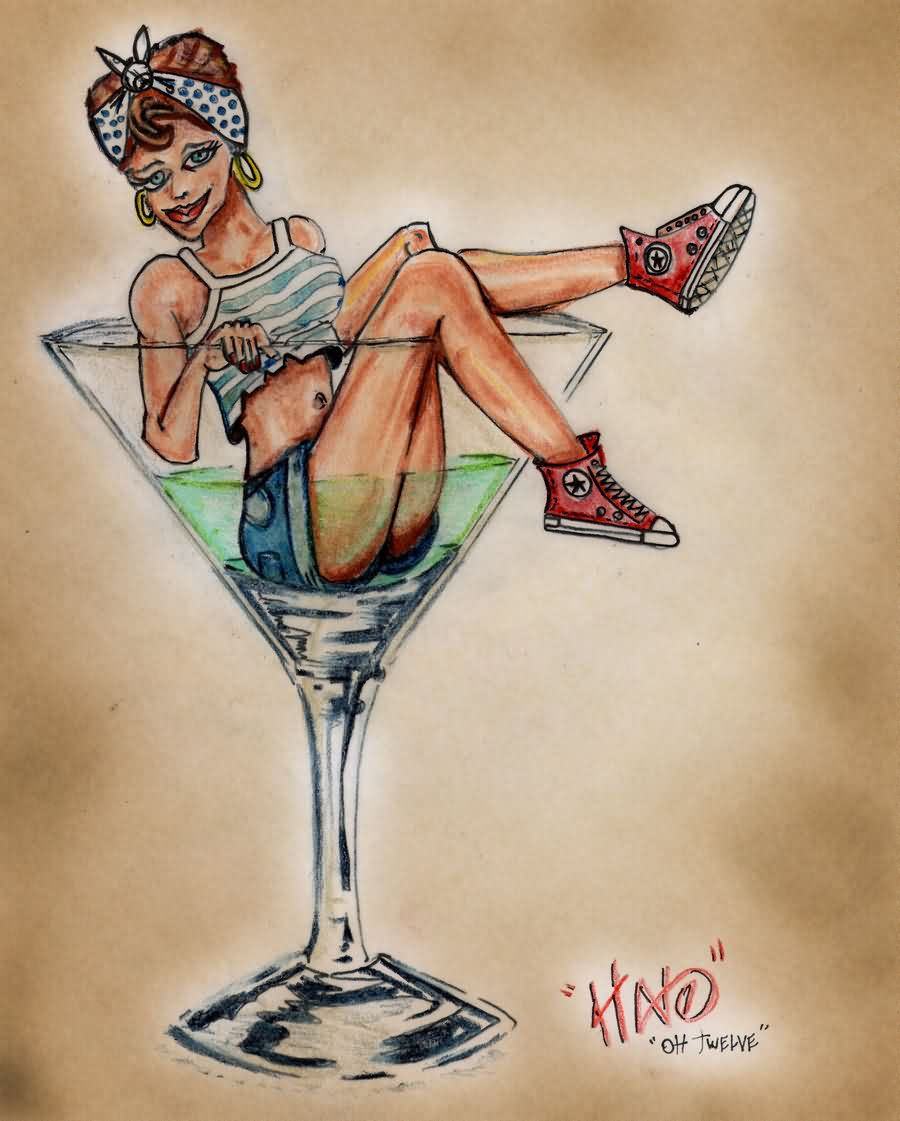 Martini Pin Up Girl Tattoo Flash