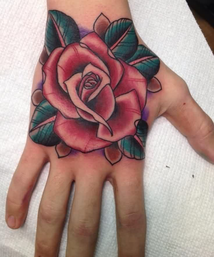 Marvelous Red Rose Tattoo On The Hand