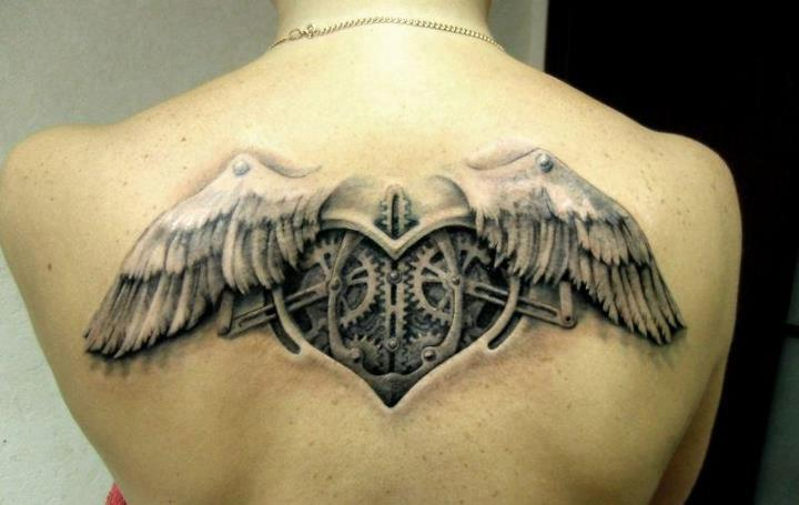 Mechanic Heart With Angel Wings Tattoos On Upperback