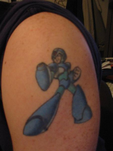 Mega Man X Tattoo On Biceps