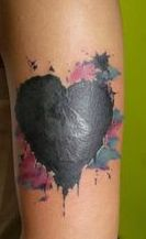 Melting Black Heart Tattoo