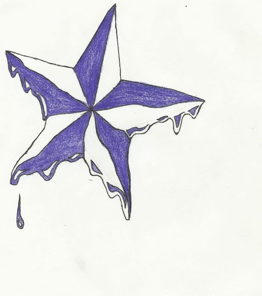 Melting Nautical Star Tattoo Sketch