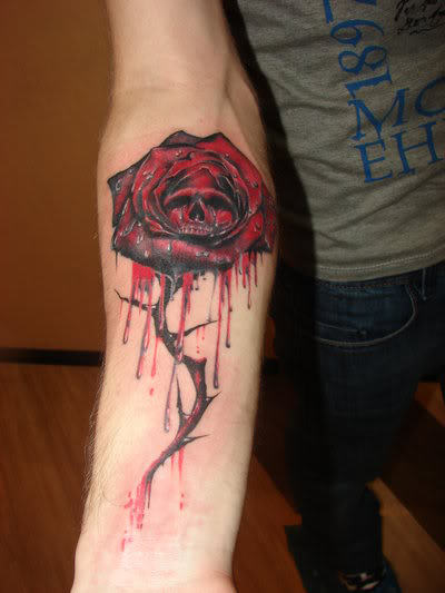 Melting Skull Rose Tattoo On Forearm For Boys