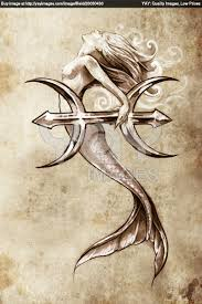 Mermaid Pisces Sign Tattoo Sketch