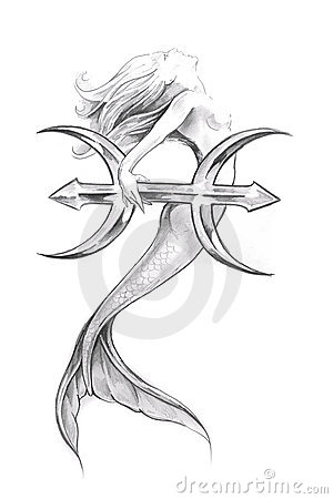 Mermaid Pisces Tattoo Sketch