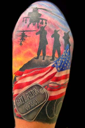 Military And Patriotic Tattoos On Half Sleeve