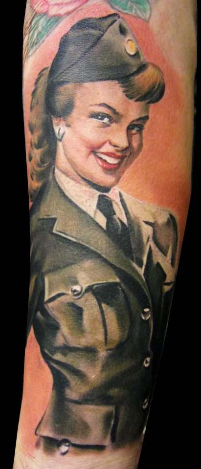 Military Pin Up Girl Smiling Portrait Tattoo