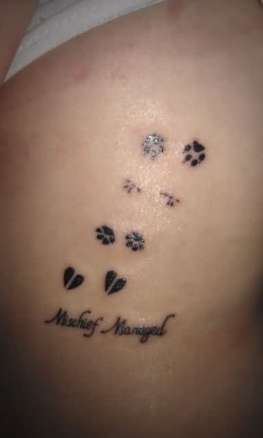 Mischief Manager Heart And Paw Print Tattoos