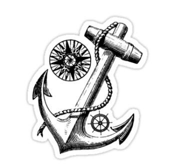 Modern Nautical Compass Anchor And Wheel Tattoos Stickers
