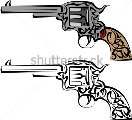 Modern Pistol Tattoo Designs