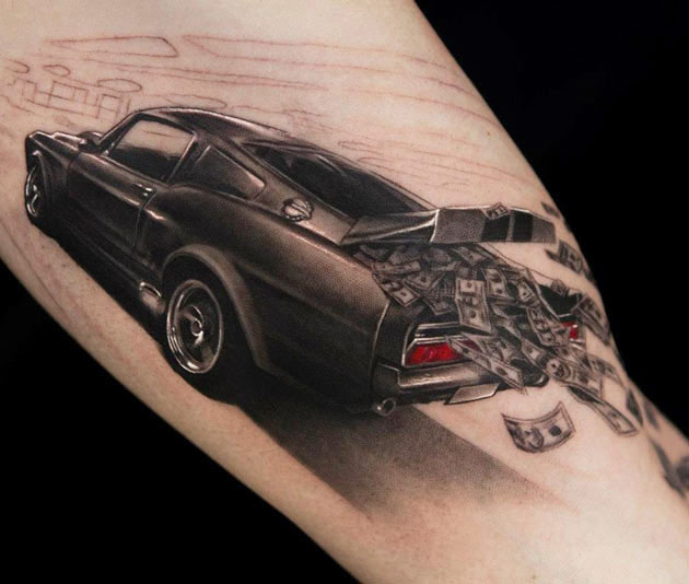 Money Falling From Car Tattoo On Arm