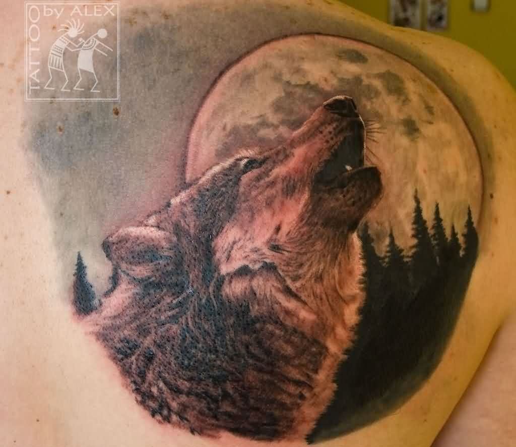 Moon Howling At The Moon Tattoo Behind Right Shoulder