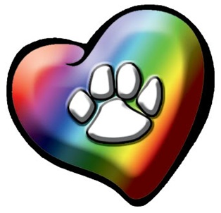 Multi Color Heart Paw Print Tattoo Stencil