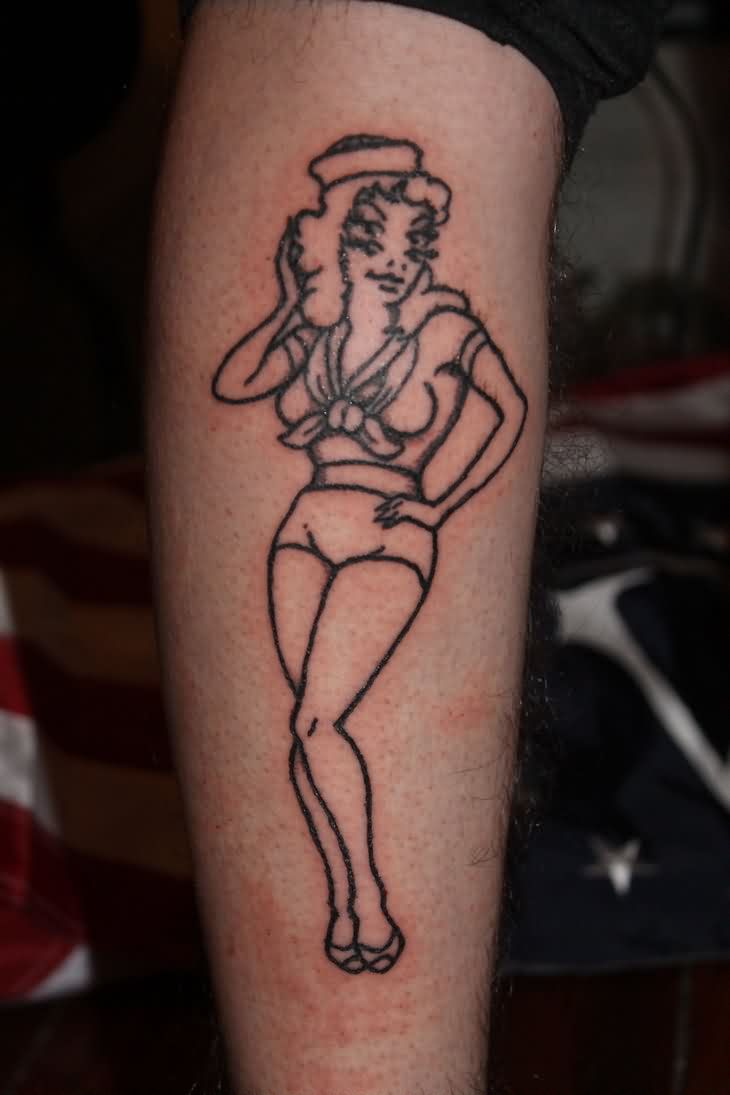 Multi Eyed Pin Up Girl Tattoo