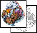 Muscular Eagle Patriotic Tattoo Design