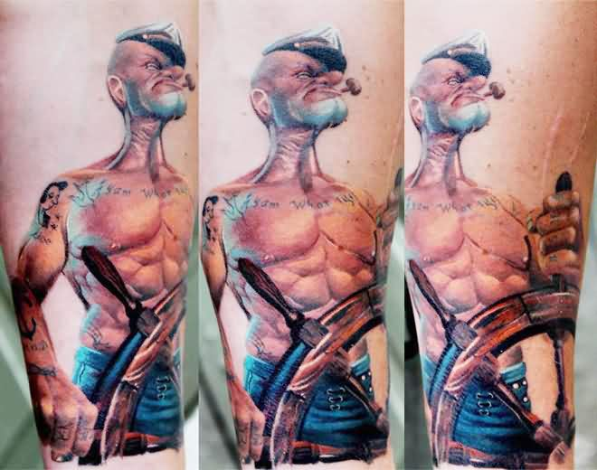 Muscular Sailor Popeye With Steering Wheel Tattoos