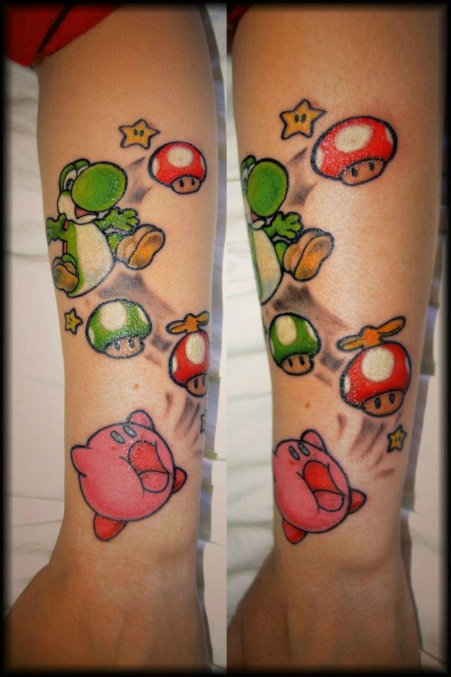 Mushroom And Kirby Tattoos