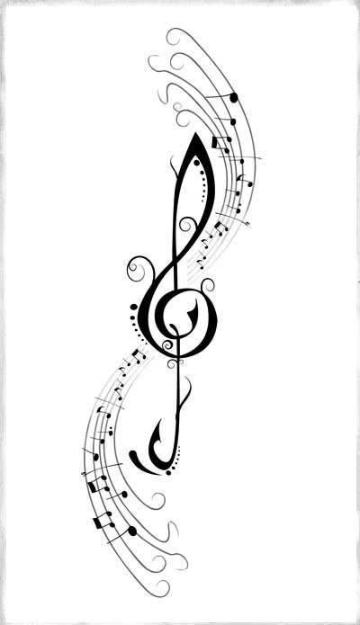 Music Treble Clef Tattoo