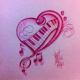 Musical Heart Tattoo Sketch