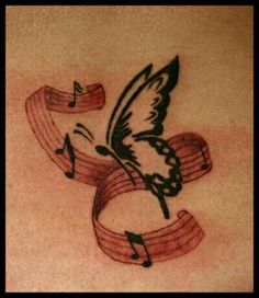 Musical Notes And Butterfly Tattoos