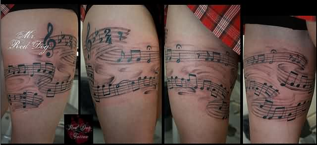 Musical Notes Leg Band Tattoos