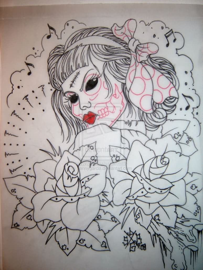 Musical Notes Roses And Zombie Pin Up Tattoo Drawing