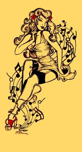 Musical Pin Up Girl Tattoo Flash