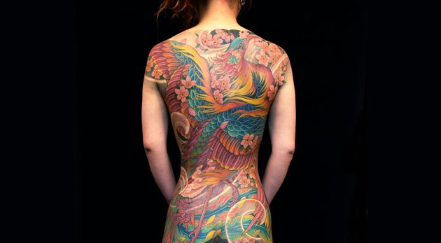 Mutil Color Japanese Phoenix Tattoo On Whole Back