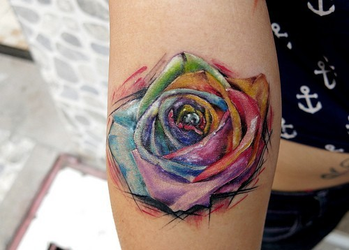 Mutli Color Rose Tattoo On Arm