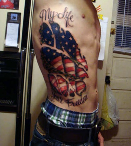 My Life Patriotic Tattoos On Full Ribs