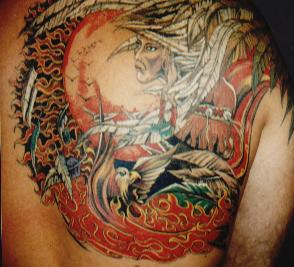 Native American Girl And Flames Tattoos On Back