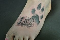 Name And Paw Print Tattoos On Foot