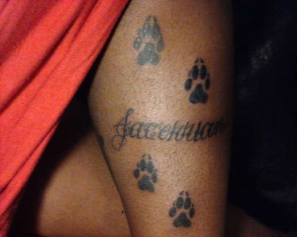 Name And Paw Print Tattoos