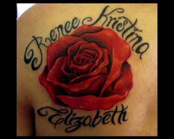 Name And Red Rose Tattoos Behind The Shoulder
