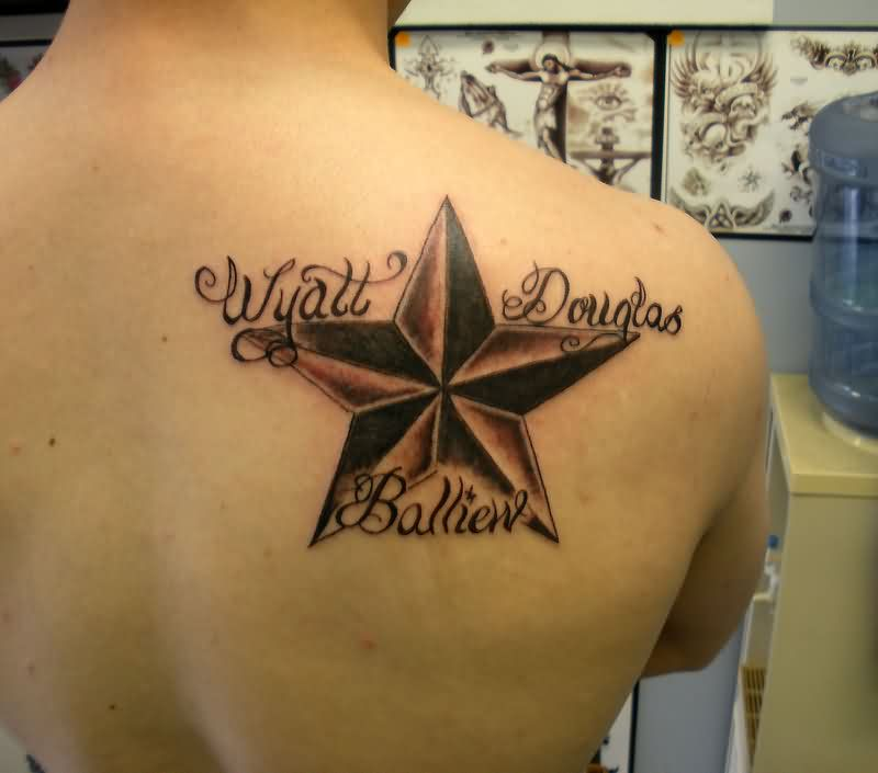 Name Around Nautical Star Tattoo