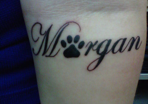 Name Paw Print Tattoo On Inner Wrist