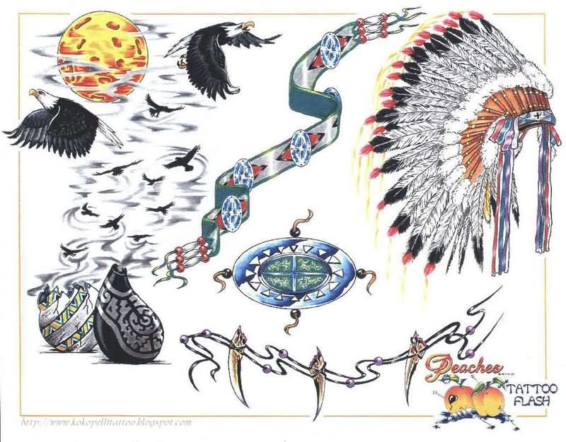 Native American And Peaches Tattoo Flash