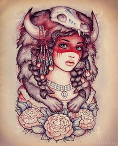 Native American Animal Skull Girl And Flower Tattoos