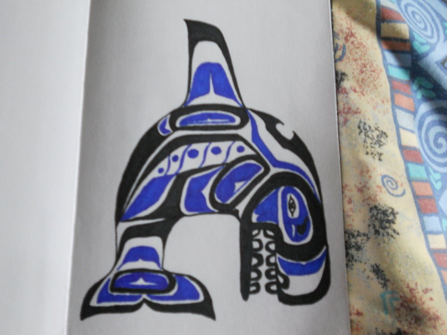Native American Blue-Black Haida Tattoo
