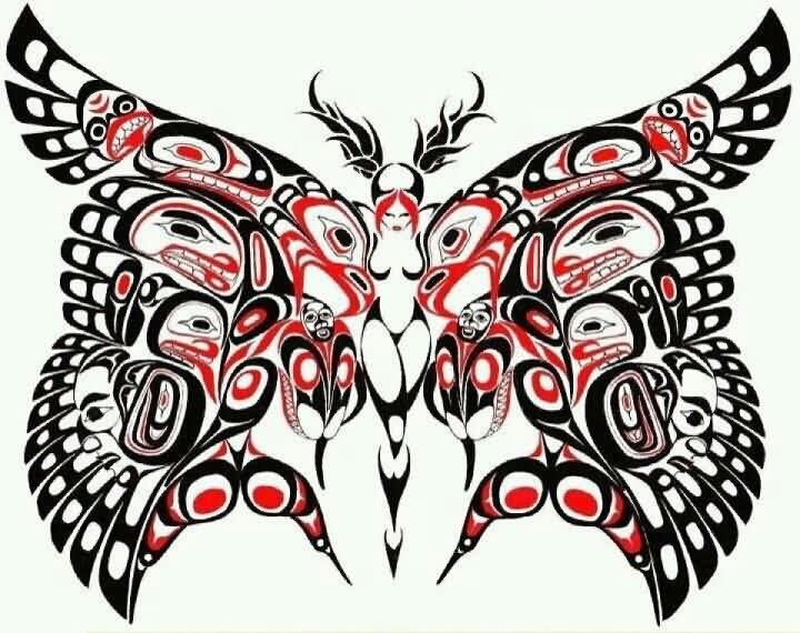 Native American Butterfly Tattoo Flash