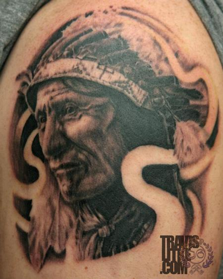 Native American Crying Portrait Tattoo On Biceps