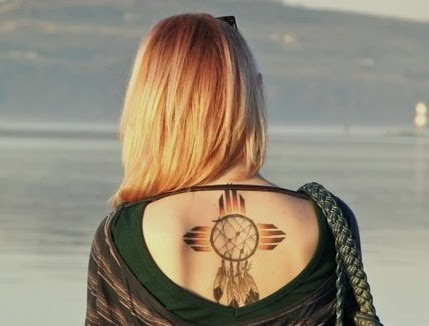 Native American Dreamcatcher Tattoo Looks Pretty On Upperback