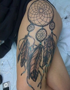 Native American Dreamcatcher Tattoo On Left Upper Thigh