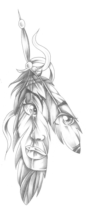 Native American Face Feather Tattoo Design