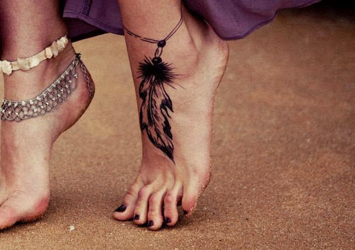 Native American Feather Anklet Tattoo