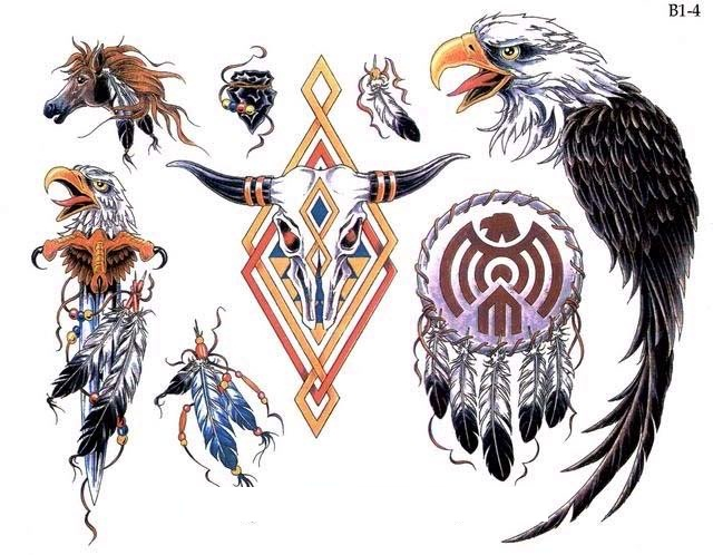 Native American Feather Eagle Tattoos